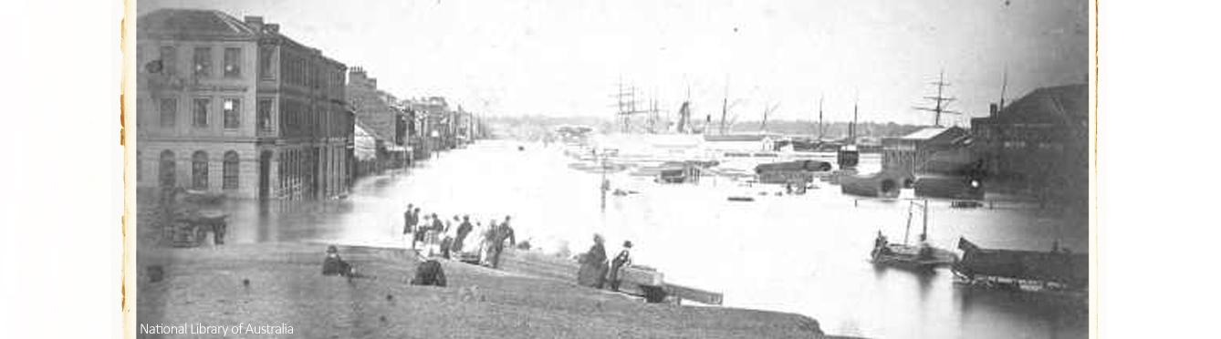 Melbourne Yarra flood in 1860. Credit National Library of Australia.