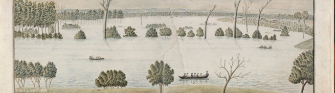 A severe flood swept the Hawkesbury River in June 1816. Credit State Library of NSW.