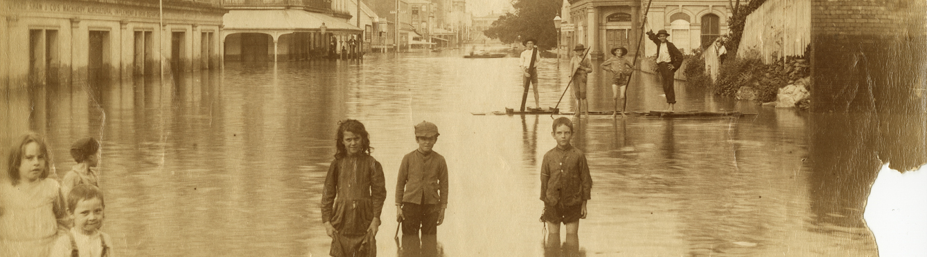 Children standing in a flooded Adelaide Street in Brisbane Queensland 1893 S/lQLD