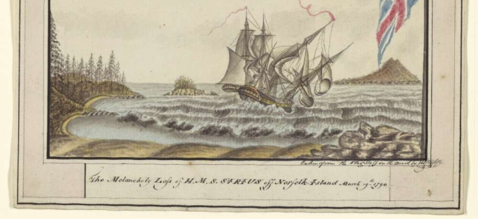 The melancholy loss of H.M.S Sirius off Norfolk Island March 19th 1790, by George Raper. Credit The National Library of Australia.