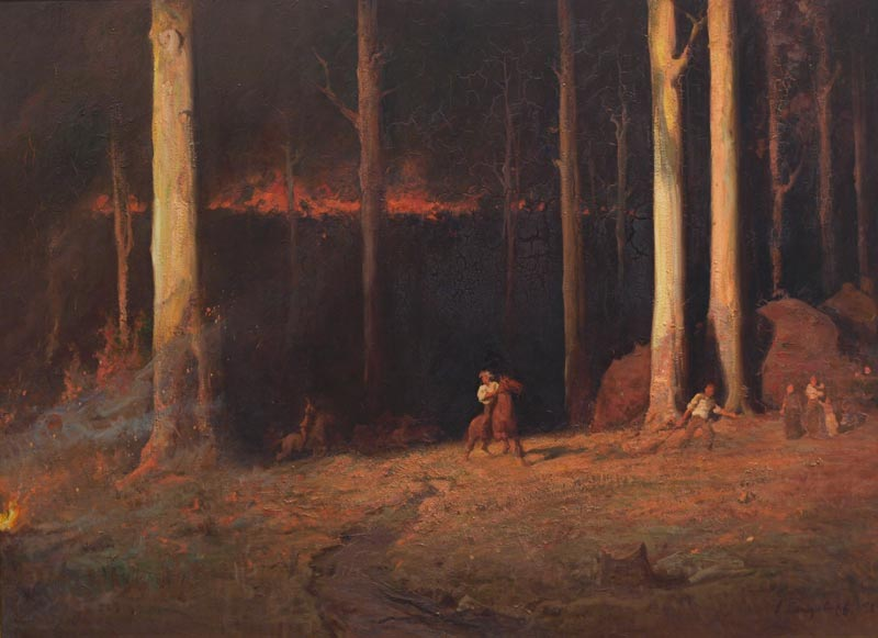 Artwork by John Longstaff depicting a fire in the Gippsland region (1898). Image courtesy the State Library of Victoria.