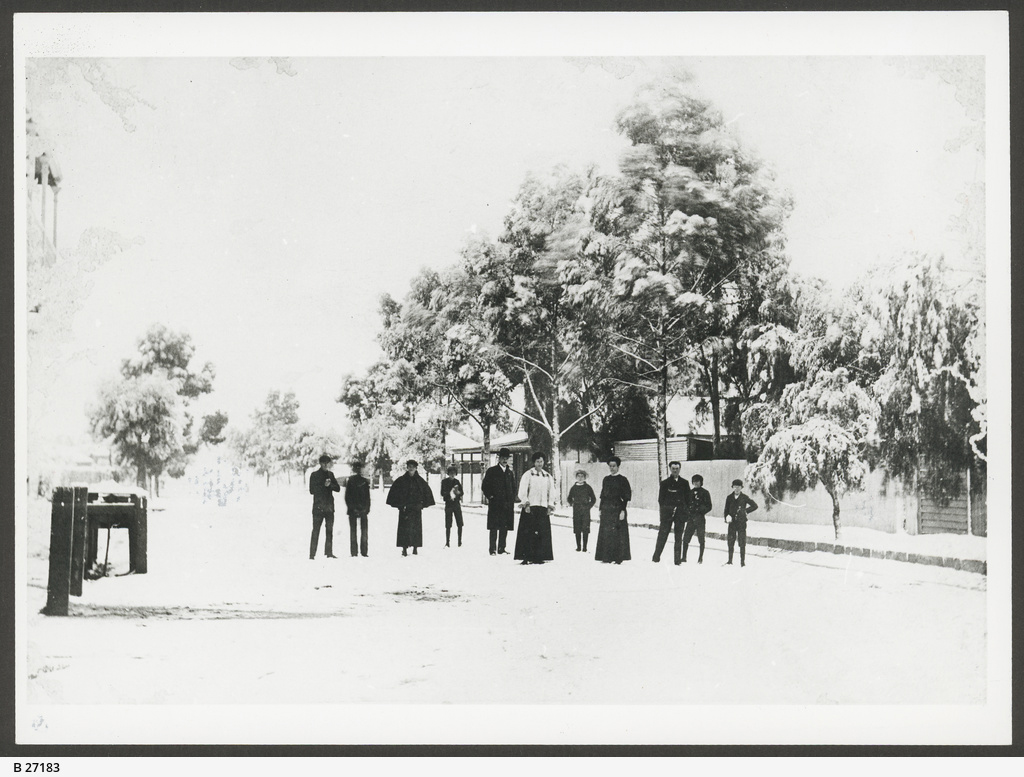 Snow storm at Peterborough on 23rd June 1908. Source: State Library of South Australia.