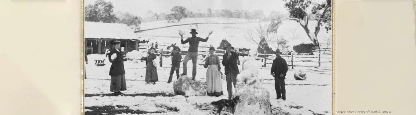 Snow at Mt Lofty, Adelaide in 1902. Source: State Library of South Australia