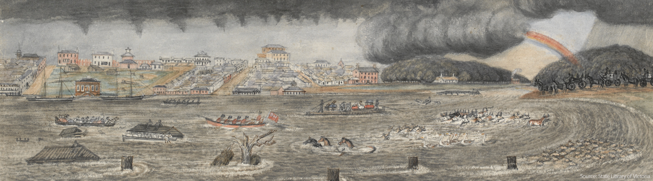 Melbourne Yarra River in flood in 1849, painted by Wilbraham Liardet. Includes the Yarra Hotel to left, with boats and sailing ships, rainbow, horses, cattle, sheep and birds in floodwater. Also shows horse drawn vehicles including carriages to right. Courtesy of State Library Victoria.