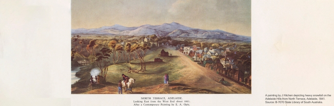 A painting by J Hitchen depicting heavy snowfall on the Adelaide Hills from North Terrace, Adelaide, 1841. Source: B-7070 State Library of South Australia.