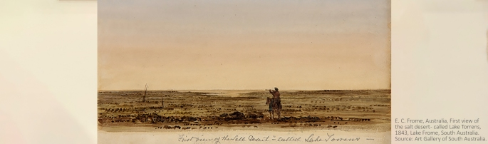 E. C. Frome, Australia, First view of the salt desert - called Lake Torrens, 1843, Lake Frome, South Australia. Source: Art Gallery of South Australia.