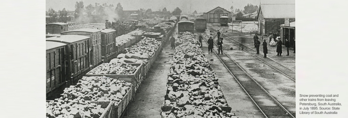 Snow preventing coal and other trains from leaving Petersburg, South Australia, in July 1895.