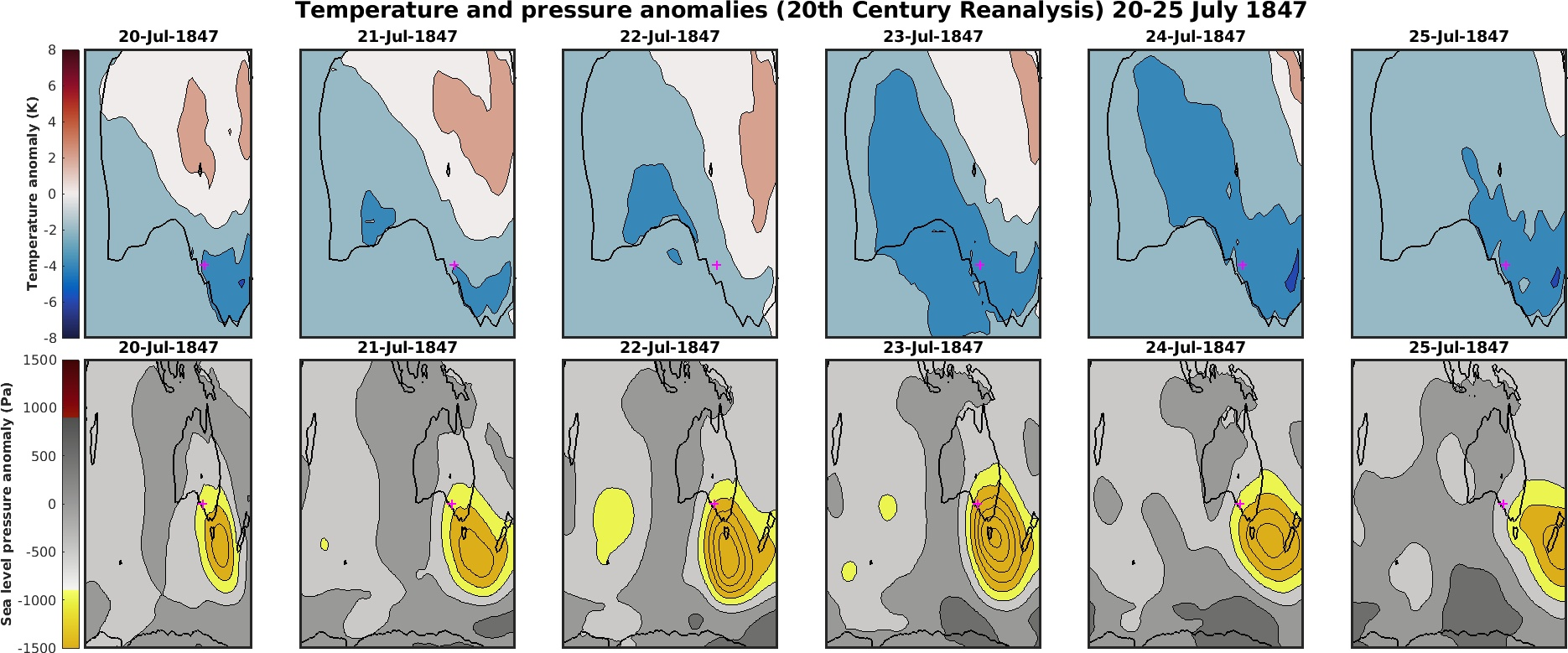 Temperature and pressure anomalies across Adelaide in July 1847.