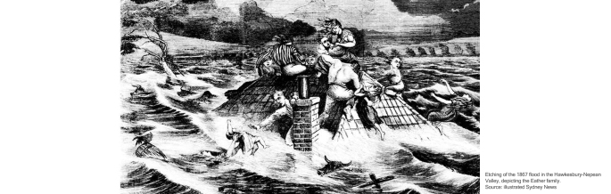 Etching of the 1867 flood in the Hawkesbury-Nepean Valley, depicting the Eather family. Source: illustrated Sydney News.