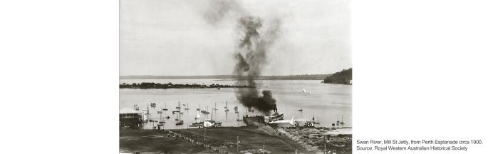 Swan River, Mill St Jetty, from Perth Esplanade circa 1900. Source: Royal Western Australian Historical Society