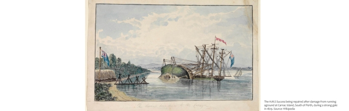 The H.M.S Success being repaired after damage from running aground at Carnac Island, South of Perth, during a strong gale in 1829. Source: Wikipedia