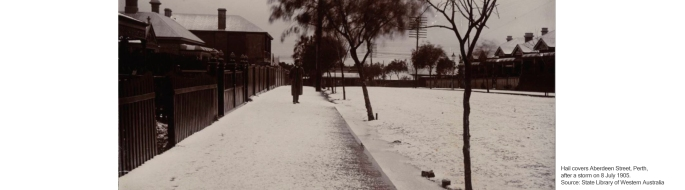 Hail covers Aberdeen Street, Perth after a storm, 8 July 1905. slwa
