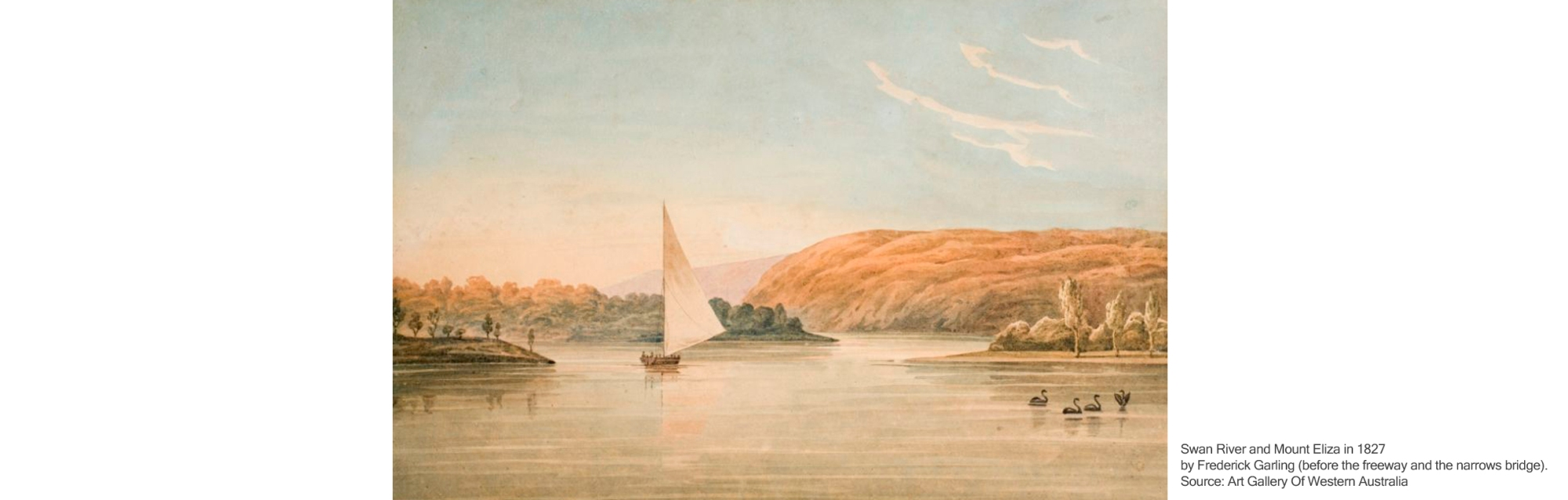 Swan River and Mount Eliza in 1827 by Frederick Garling - before the freeway and the narrows bridge. Source: Art Gallery Of Western Australia.