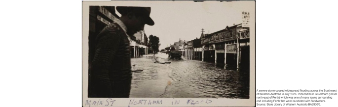 A severe storm caused widespread flooding across the Southwest of Western Australia in July 1926. Pictured here is Northam (90 km north-east of Perth) which was one of many towns surrounding and including Perth that were inundated with floodwaters. Source: State Library of Western Australia BA2930/6.